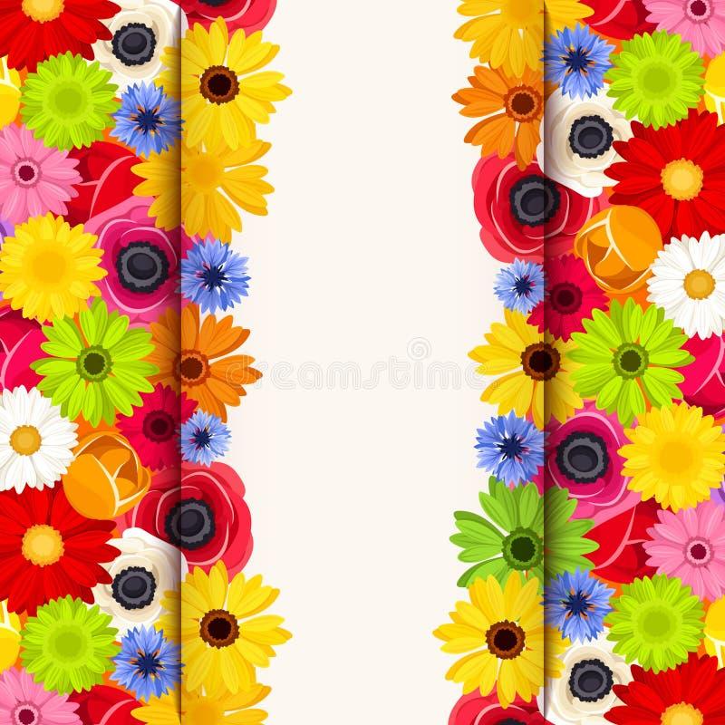 Κάρτα πρόσκλησης με τα ζωηρόχρωμα λουλούδια Διάνυσμα eps-10 διανυσματική απεικόνιση