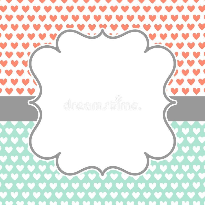 Κάρτα πρόσκλησης με τις καρδιές και το πλαίσιο Πόλκα διανυσματική απεικόνιση