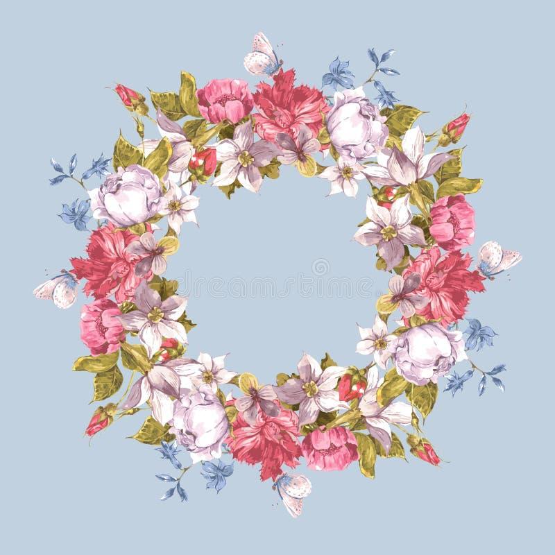 Κάρτα πρόσκλησης με το Floral στεφάνι ελεύθερη απεικόνιση δικαιώματος
