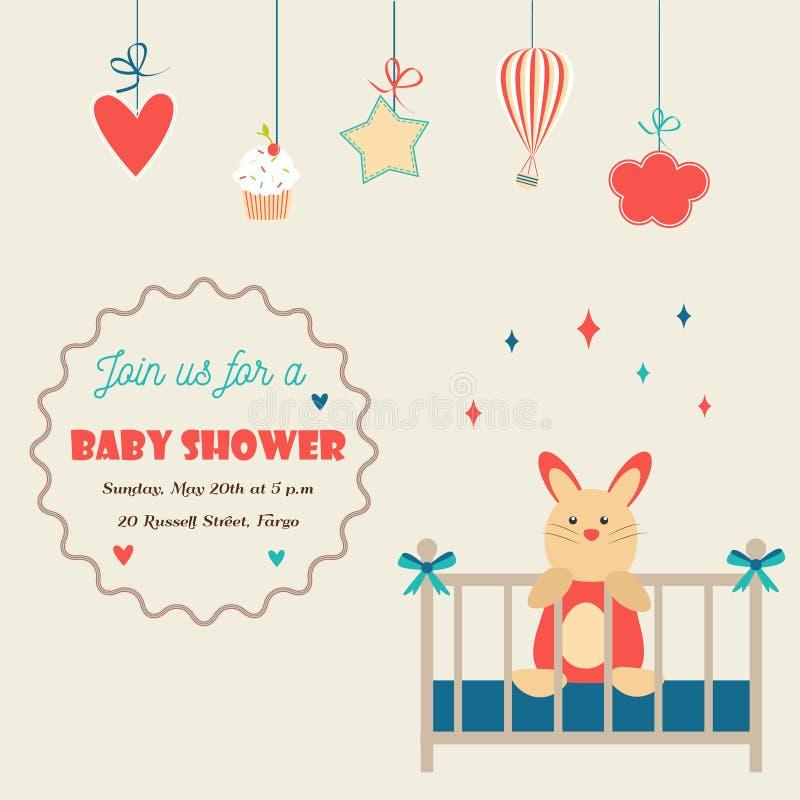 Κάρτα πρόσκλησης ντους μωρών με λίγο κουνέλι σε μια κούνια μωρών διανυσματική απεικόνιση