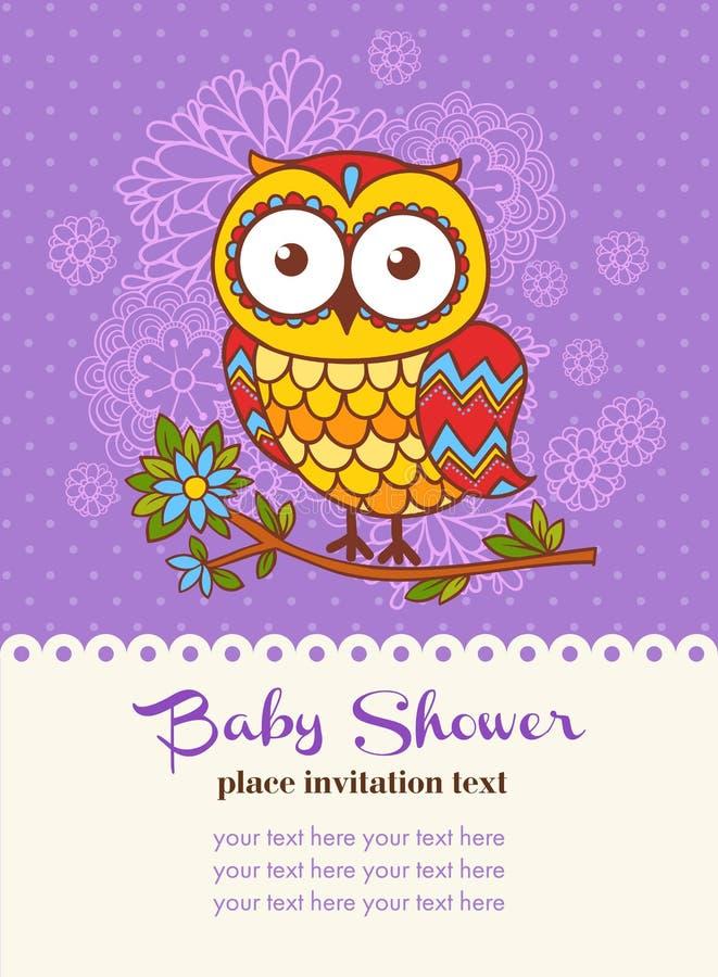 Κάρτα πρόσκλησης ντους μωρών με μια κουκουβάγια ελεύθερη απεικόνιση δικαιώματος