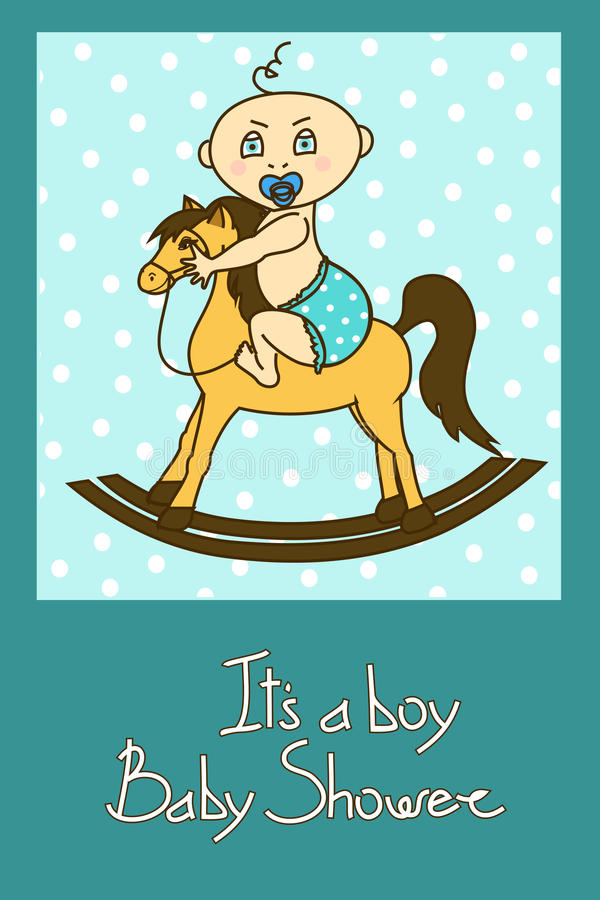 Κάρτα πρόσκλησης ντους μωρών διανυσματική απεικόνιση