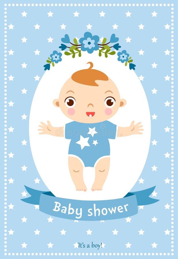 Κάρτα πρόσκλησης ντους μωρών απεικόνιση αποθεμάτων