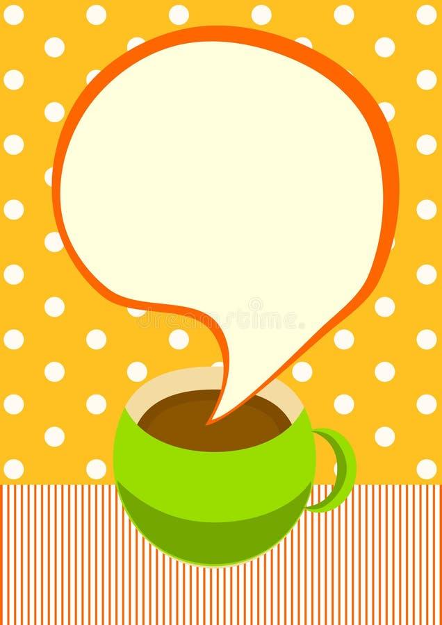 Κάρτα πρόσκλησης φλυτζανιών καφέ απεικόνιση αποθεμάτων