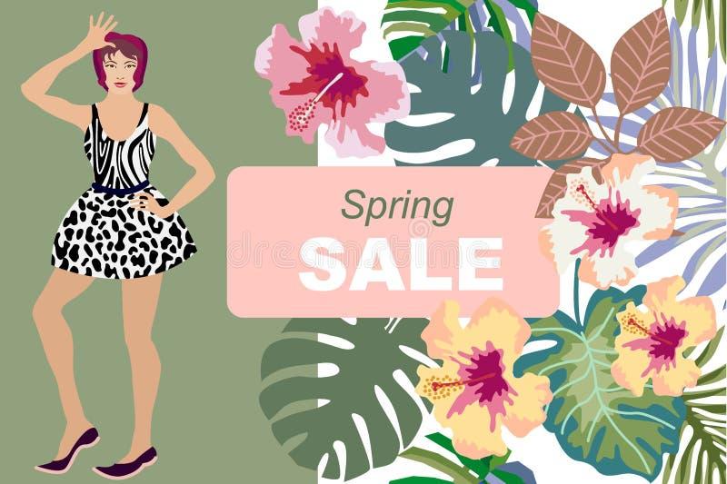 Κάρτα πώλησης άνοιξη Όμορφο ασιατικό κορίτσι και floral υπόβαθρο ελεύθερη απεικόνιση δικαιώματος
