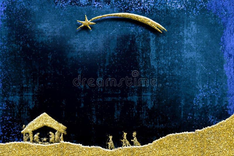 Κάρτα σκηνής Nativity και Χριστουγέννων τριών σοφών ανθρώπων ελεύθερη απεικόνιση δικαιώματος