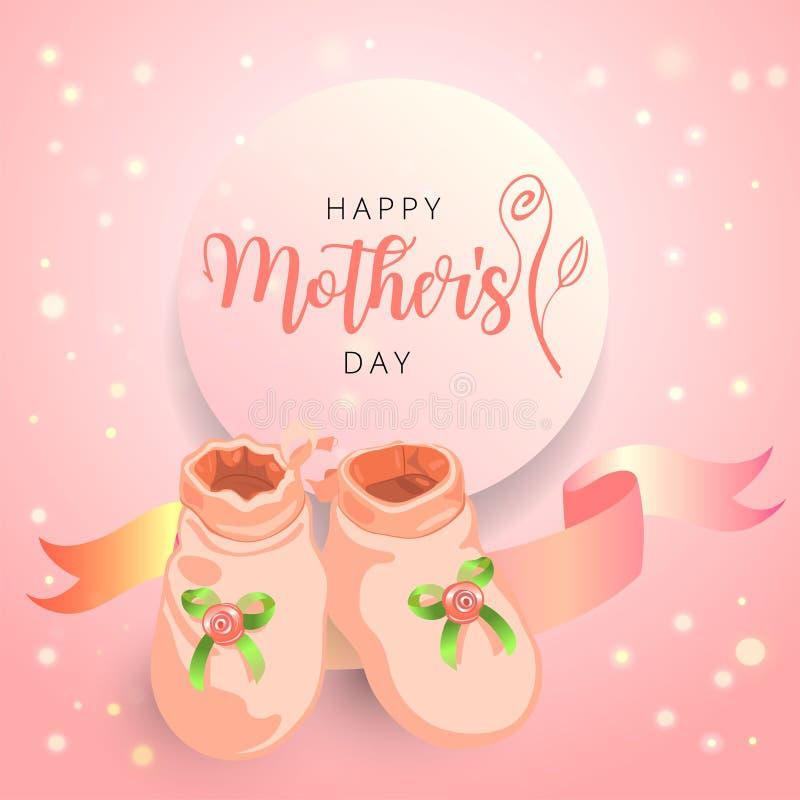 Κάρτα συγχαρητηρίων και πρόσκλησης ημέρας μητέρων με τις χαριτωμένες λείες λίγων μωρών και λογότυπο τυπογραφίας με το ροδαλό άνθο διανυσματική απεικόνιση