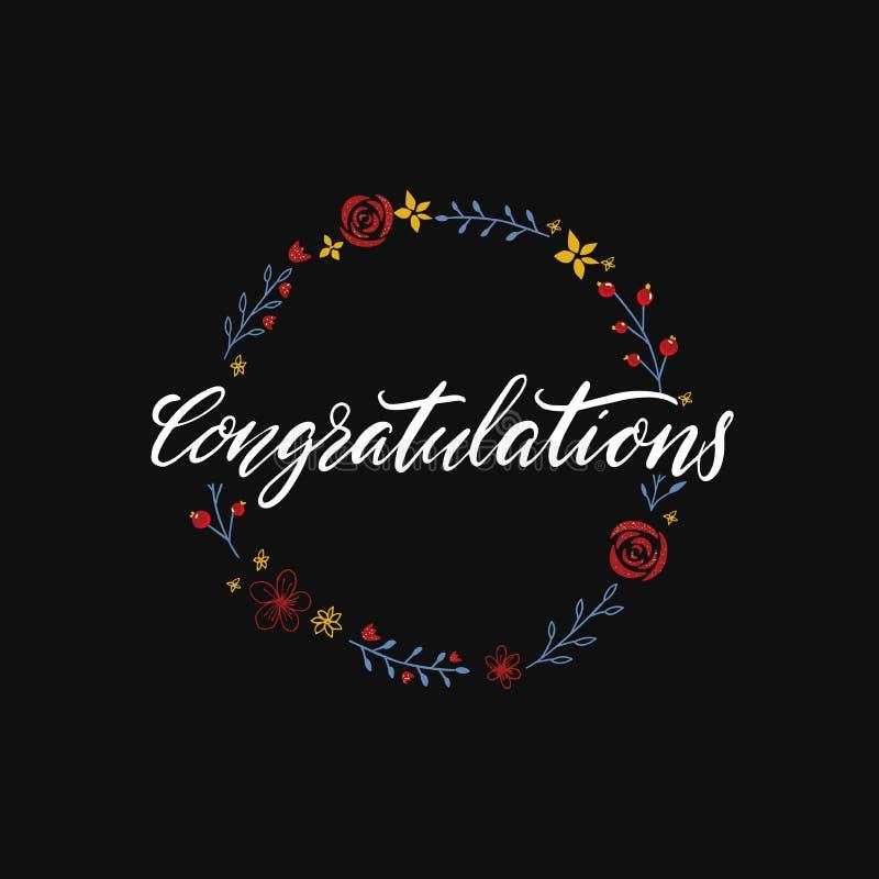 Κάρτα συγχαρητηρίων, λέξη καλλιγραφίας στο μαύρο floral υπόβαθρο Έμβλημα με συρμένα τα χέρι λουλούδια και την εγγραφή διανυσματική απεικόνιση