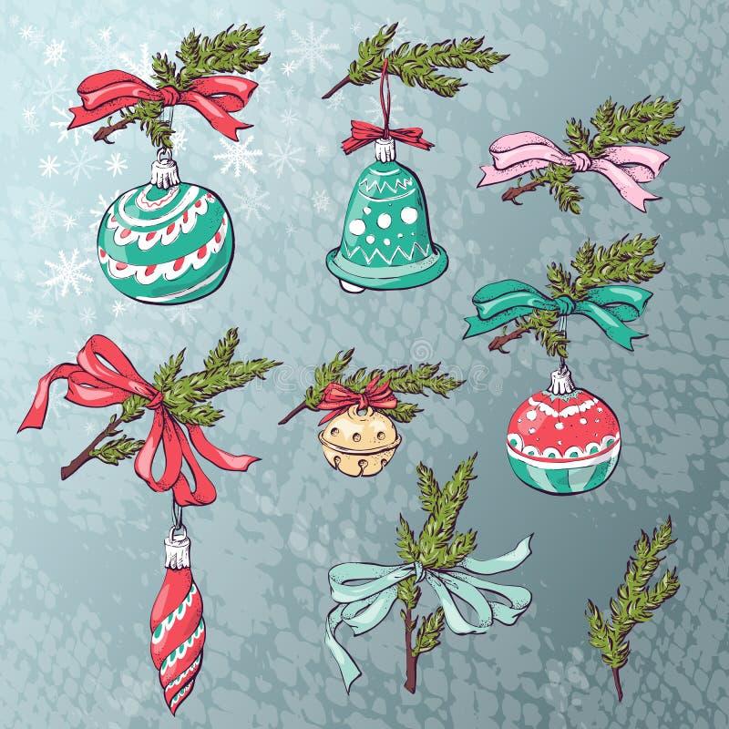 Κάρτα σφαιρών Χριστουγέννων επίσης corel σύρετε το διάνυσμα απεικόνισης ελεύθερη απεικόνιση δικαιώματος