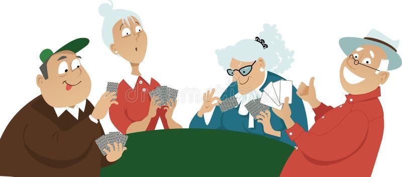 κάρτα τέσσερα άσσων τύχη παιχνιδιών απεικόνιση αποθεμάτων
