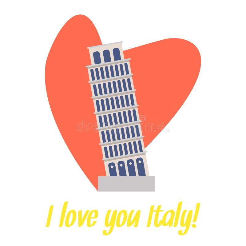 Κάρτα ταξιδιού κλίνοντας πύργων της Πίζας με την εγγραφή ελεύθερη απεικόνιση δικαιώματος