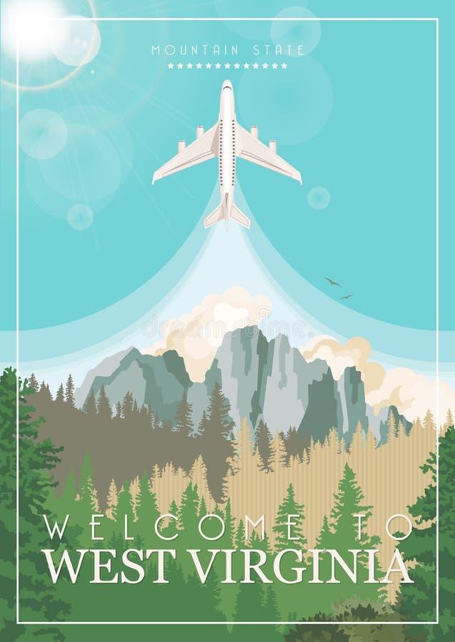 Κάρτα ταξιδιού της δυτικής Βιρτζίνια με το αεροπλάνο Κράτος βουνών ΑΜΕΡΙΚΑΝΙΚΗ ζωηρόχρωμη αφίσα με το χάρτη απεικόνιση αποθεμάτων