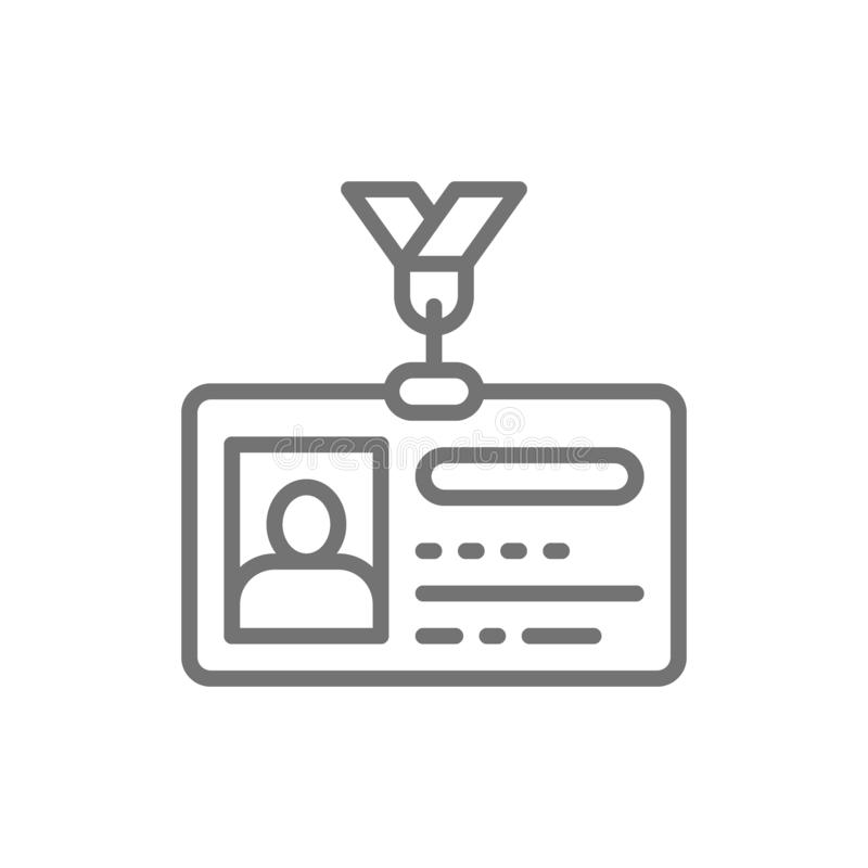 Κάρτα ταυτότητας, άδεια οδήγησης, εικονίδιο γραμμών ταυτοτήτων απεικόνιση αποθεμάτων