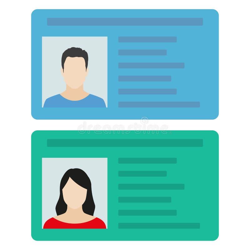 Κάρτα ταυτότητας ή άδεια οδήγησης αυτοκινήτων με τη φωτογραφία ανδρών και γυναικών Διανυσματική απεικόνιση στο επίπεδο ύφος απεικόνιση αποθεμάτων