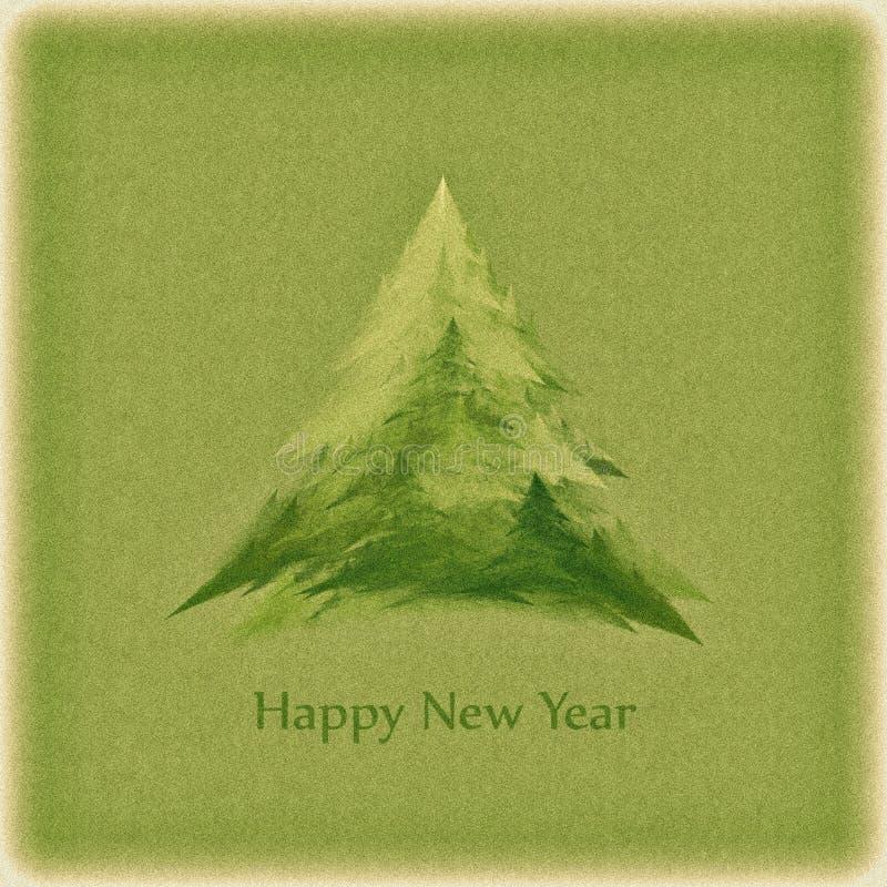 Κάρτα του αναδρομικού νέου έτους με ένα πράσινο χριστουγεννιάτικο δέντρο διανυσματική απεικόνιση