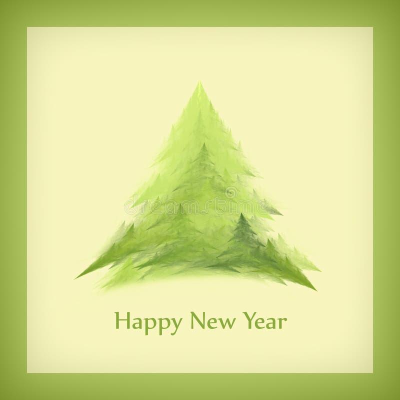 Κάρτα του νέου έτους με ένα χριστουγεννιάτικο δέντρο σε ένα πράσινο πλαίσιο απεικόνιση αποθεμάτων
