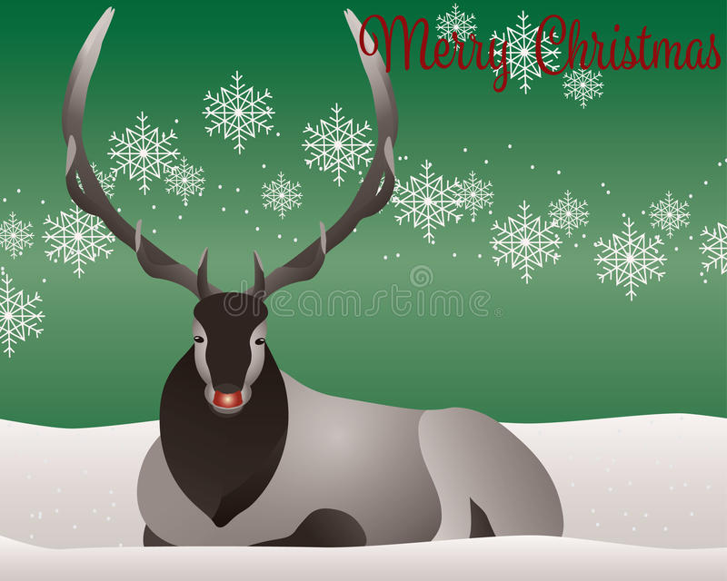 Κάρτα του Rudolph αλκών ή ελαφιών ελεύθερη απεικόνιση δικαιώματος