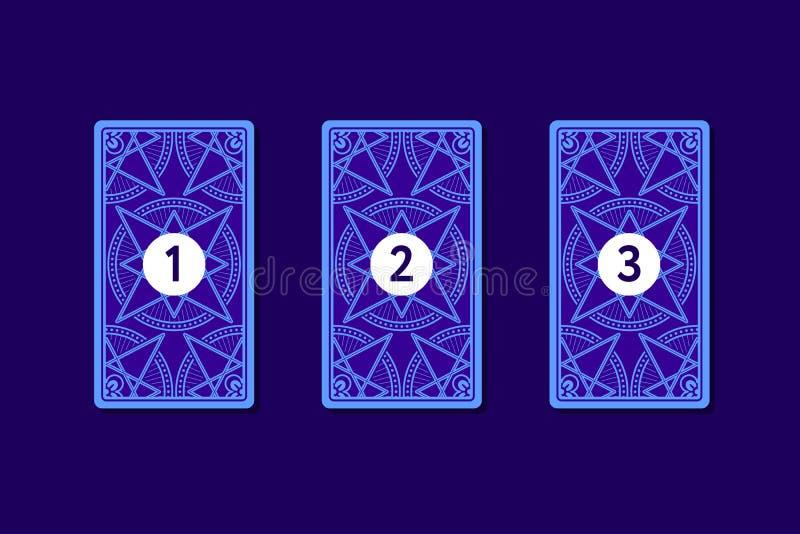 Κάρτα τρία tarot που διαδίδεται Αντίστροφη πλευρά απεικόνιση αποθεμάτων