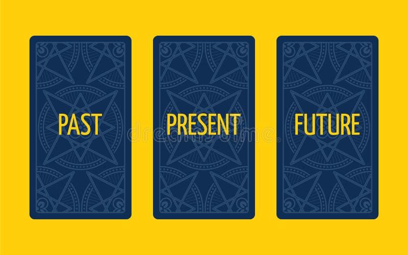 Κάρτα τρία tarot που διαδίδεται Μετά από, παρόν και μέλλον ελεύθερη απεικόνιση δικαιώματος