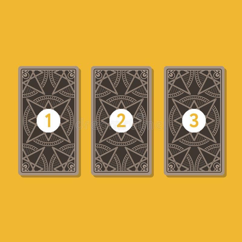 Κάρτα τριών tarot που διαδίδεται Αντίστροφη πλευρά ελεύθερη απεικόνιση δικαιώματος