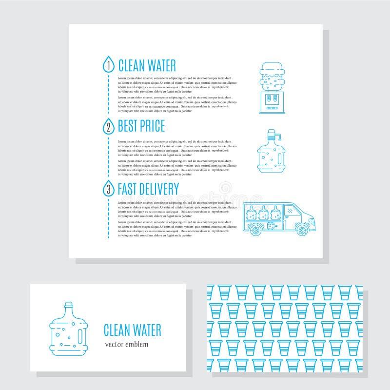 Κάρτα υπηρεσιών παράδοσης νερού διανυσματική απεικόνιση