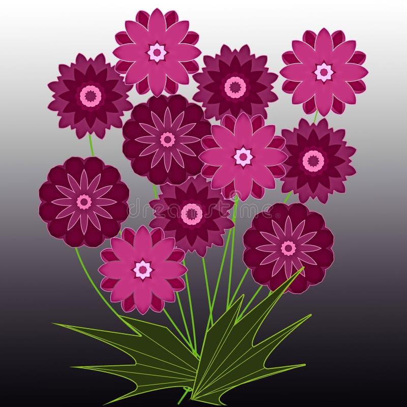 Κάρτα χαιρετισμών με την ανθοδέσμη των ρόδινων θερινών λουλουδιών απεικόνιση αποθεμάτων