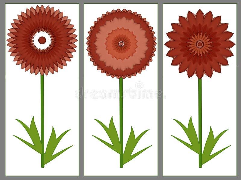 Κάρτα χαιρετισμών με τρία κόκκινα θερινά λουλούδια διανυσματική απεικόνιση