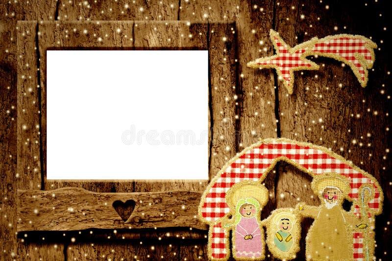 Κάρτα χαιρετισμών πλαισίων φωτογραφιών Χριστουγέννων στοκ φωτογραφία
