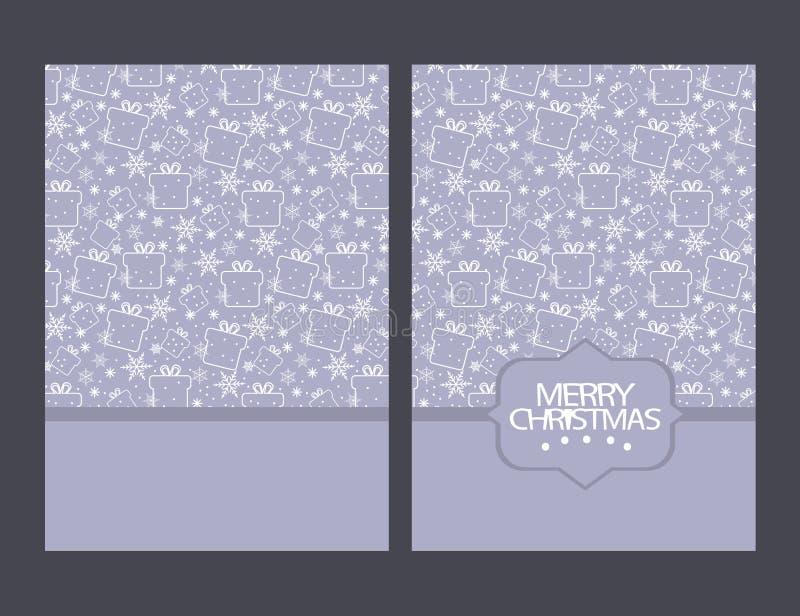 Κάρτα χαιρετισμών Χαρούμενα Χριστούγεννας με τα σύμβολα και το χέρι Χριστουγέννων διανυσματική απεικόνιση