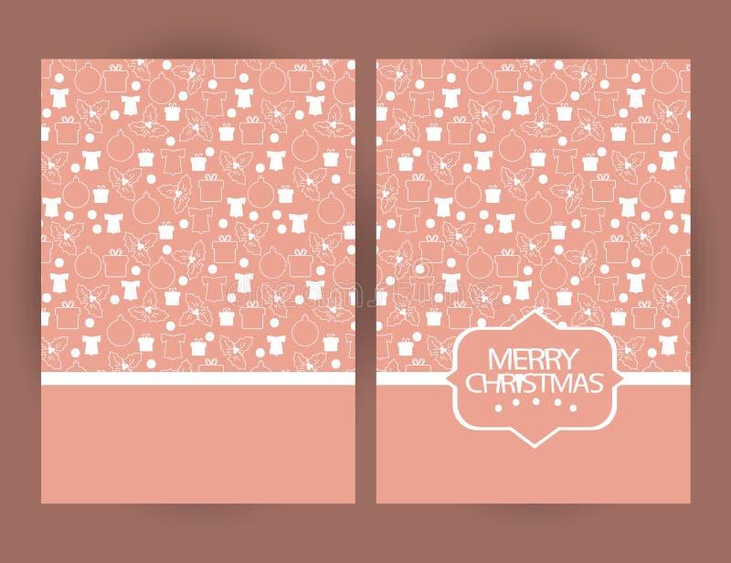 Κάρτα χαιρετισμών Χαρούμενα Χριστούγεννας με τα σύμβολα και το χέρι Χριστουγέννων ελεύθερη απεικόνιση δικαιώματος