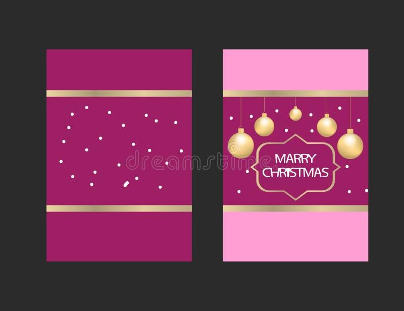 Κάρτα χαιρετισμών Χαρούμενα Χριστούγεννας με τα σύμβολα Χριστουγέννων και eleme απεικόνιση αποθεμάτων