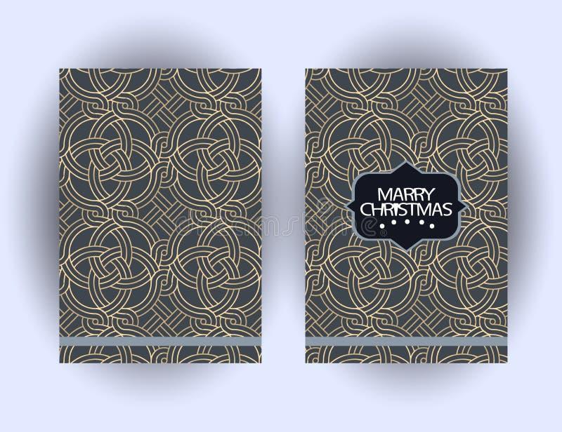 Κάρτα χαιρετισμών Χαρούμενα Χριστούγεννας με τις διακοσμήσεις Κάρτα συγχαρητηρίων χειμερινών διακοπών διανυσματική απεικόνιση