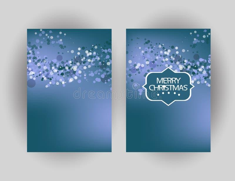 Κάρτα χαιρετισμών Χαρούμενα Χριστούγεννας με το λαμπιρίζοντας υπόβαθρο Winte απεικόνιση αποθεμάτων