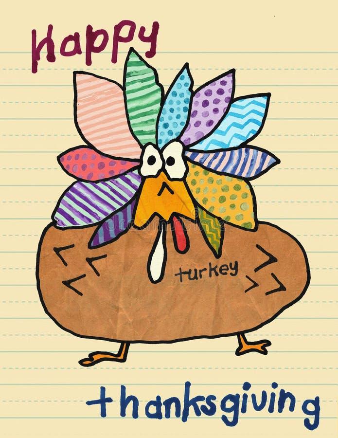 Κάρτα χαριτωμένο Watercolor ημέρας των ευχαριστιών παιδιών ` s ελεύθερη απεικόνιση δικαιώματος