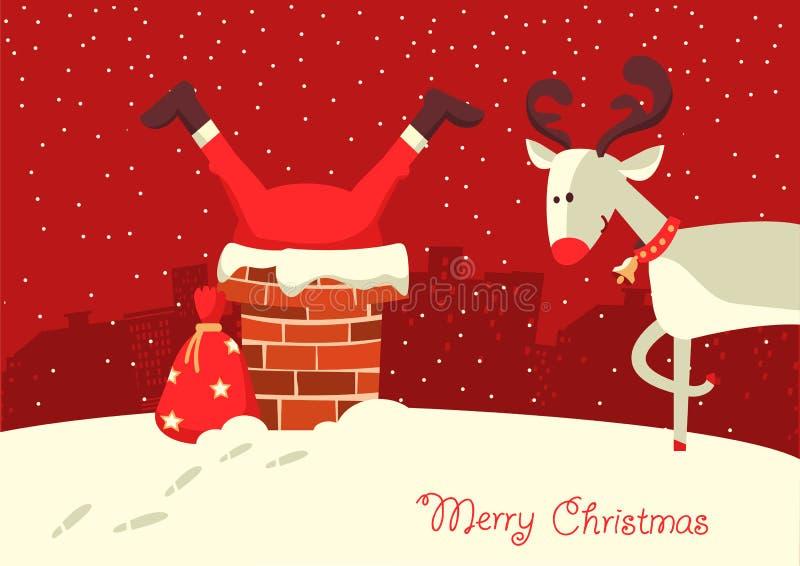 Κάρτα Χαρούμενα Χριστούγεννας Άγιος Βασίλης κόλλησε στην καπνοδόχο στο Chr διανυσματική απεικόνιση