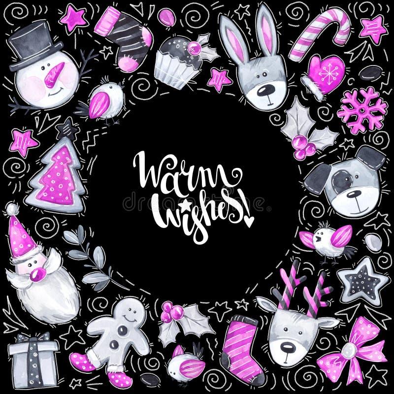 Κάρτα Χαρούμενα Χριστούγεννας Αστείοι στοιχεία και χαρακτήρες κινούμενων σχεδίων Πλαίσιο χαιρετισμού Watercolor απεικόνιση αποθεμάτων