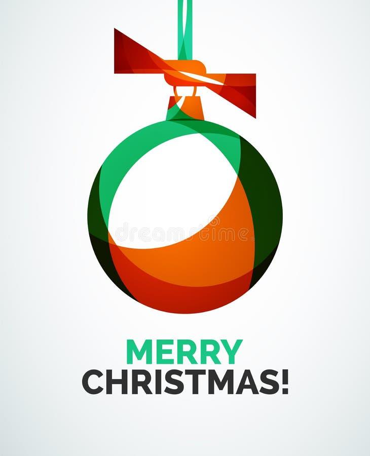 Κάρτα Χαρούμενα Χριστούγεννας - αφηρημένη σφαίρα, μπιχλιμπίδι διανυσματική απεικόνιση
