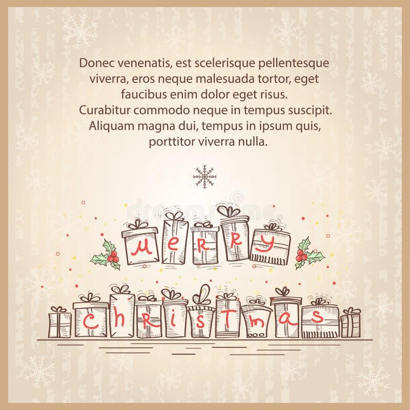 Κάρτα Χαρούμενα Χριστούγεννας. Διανυσματικό σκίτσο σχεδίων illustr απεικόνιση αποθεμάτων