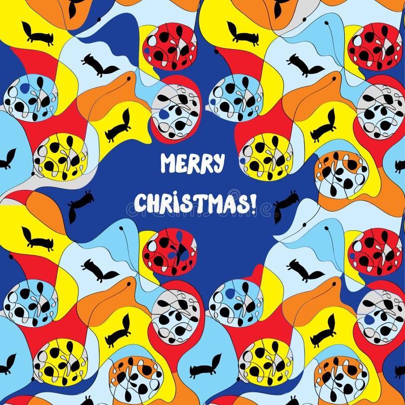 Κάρτα Χαρούμενα Χριστούγεννας - ιδιότροπο σχέδιο ελεύθερη απεικόνιση δικαιώματος