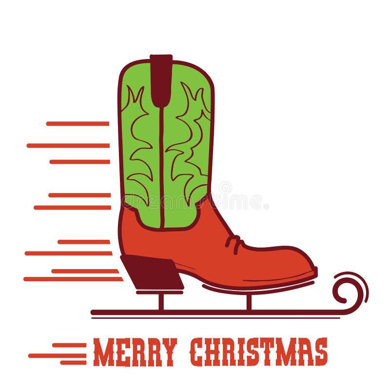 Κάρτα Χαρούμενα Χριστούγεννας κάουμποϋ Απεικόνιση μποτών σαλαχιών πάγου κάουμποϋ απεικόνιση αποθεμάτων