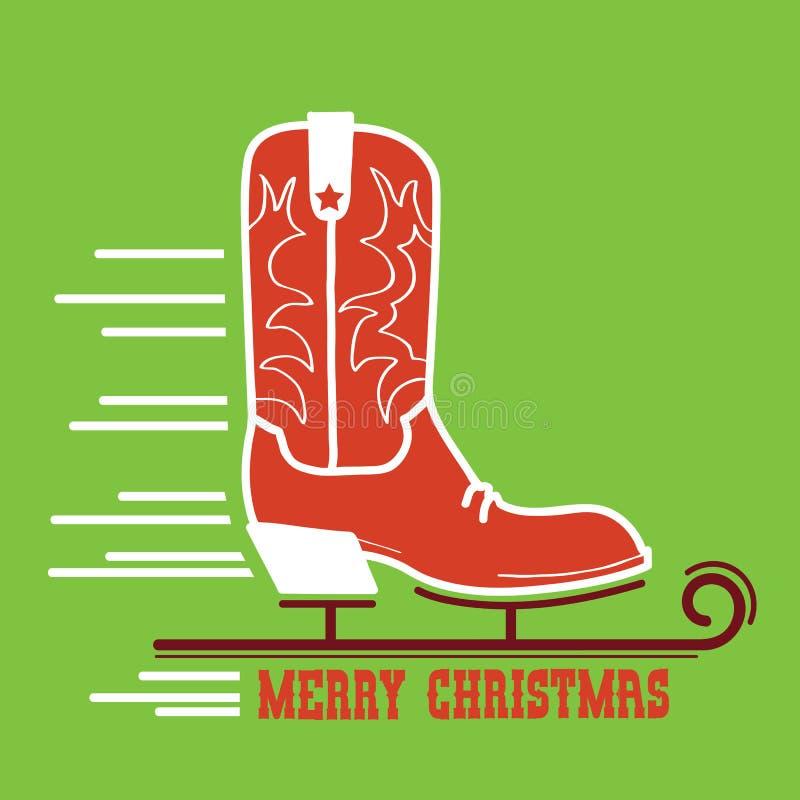 Κάρτα Χαρούμενα Χριστούγεννας κάουμποϋ Απεικόνιση μποτών σαλαχιών πάγου κάουμποϋ διανυσματική απεικόνιση
