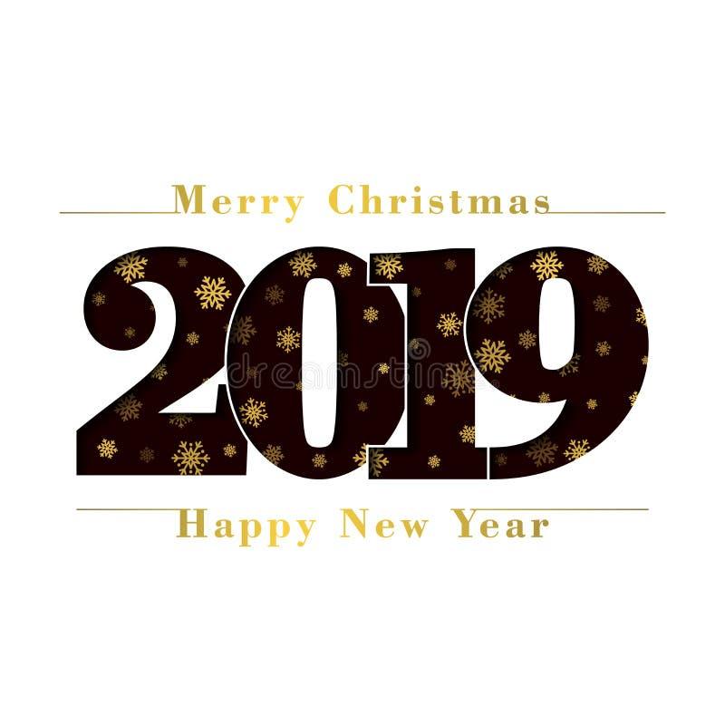 Κάρτα Χαρούμενα Χριστούγεννας καλής χρονιάς Μαύρος αριθμός 2019, χρυσή snowflake σύσταση, απομονωμένο άσπρο υπόβαθρο Φωτεινός χρυ απεικόνιση αποθεμάτων