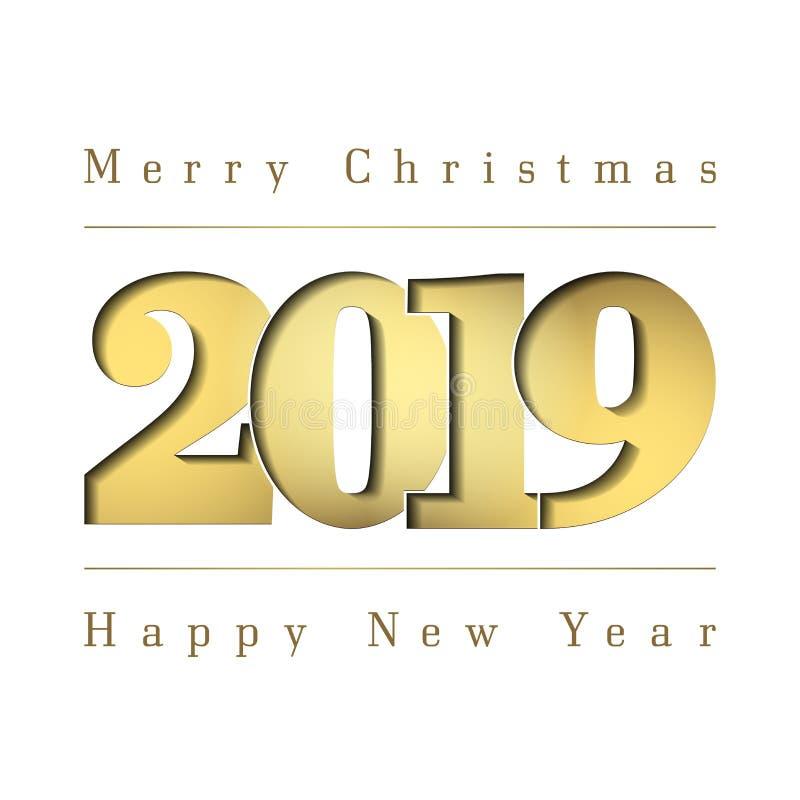 Κάρτα Χαρούμενα Χριστούγεννας καλής χρονιάς Χρυσός αριθμός 2019 Χρυσά ψηφία κλίσης, που απομονώνονται στο άσπρο υπόβαθρο πυράκτωσ ελεύθερη απεικόνιση δικαιώματος