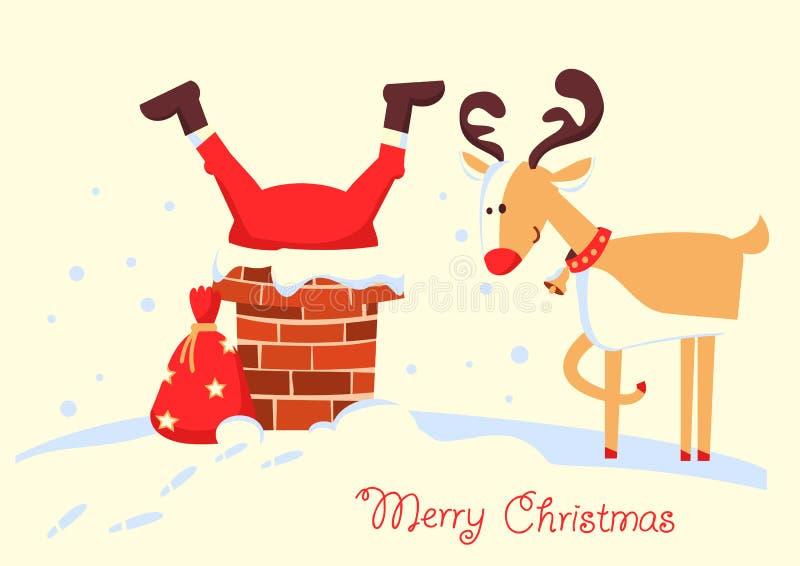 Κάρτα Χαρούμενα Χριστούγεννας με Άγιο Βασίλη που κολλιέται στην καπνοδόχο στο θόριο απεικόνιση αποθεμάτων