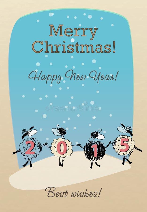 Κάρτα Χαρούμενα Χριστούγεννας με τα αστεία πρόβατα 2015 απεικόνιση αποθεμάτων