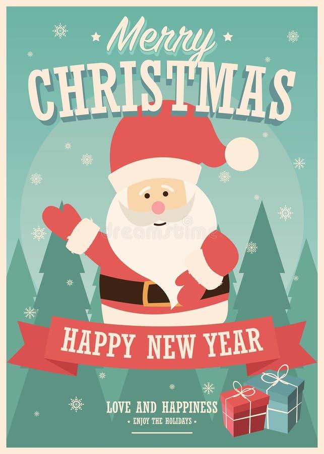 Κάρτα Χαρούμενα Χριστούγεννας με τα κιβώτια Άγιου Βασίλη και δώρων στο χειμερινό υπόβαθρο διανυσματική απεικόνιση
