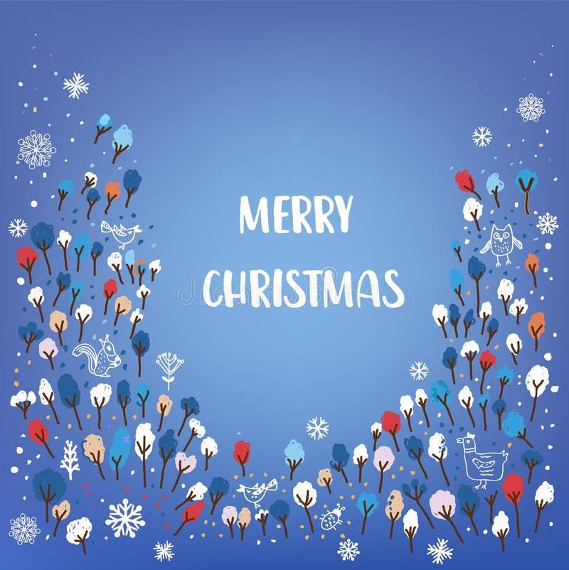 Κάρτα Χαρούμενα Χριστούγεννας με το δάσος, ζώα, χιόνι, doodle ύφος επίσης corel σύρετε το διάνυσμα απεικόνισης ελεύθερη απεικόνιση δικαιώματος