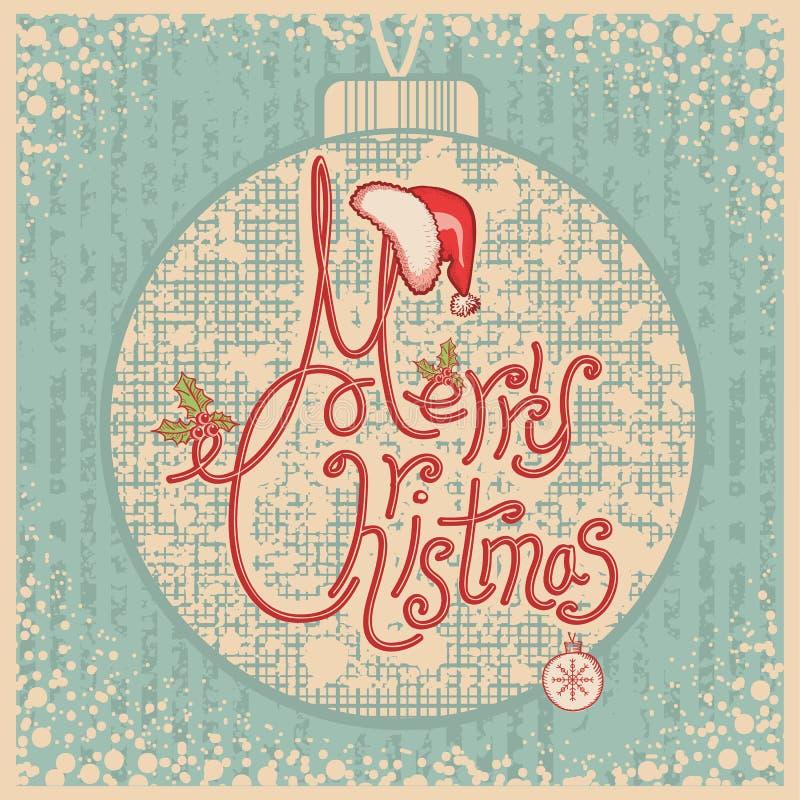 Κάρτα Χαρούμενα Χριστούγεννας με το κείμενο. Εκλεκτής ποιότητας χαιρετισμός IL ελεύθερη απεικόνιση δικαιώματος