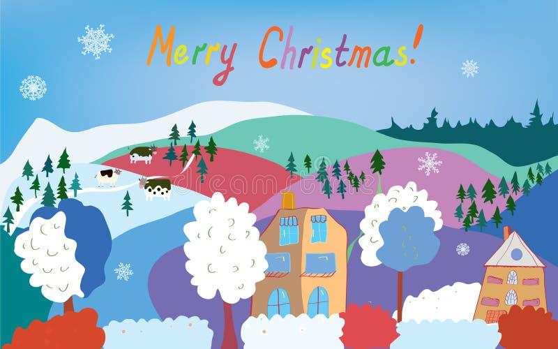 Κάρτα Χαρούμενα Χριστούγεννας με το ορεινό χωριό, αγελάδες, απεικόνιση αποθεμάτων