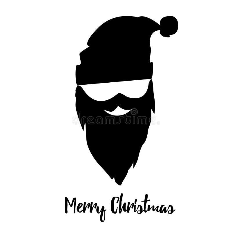Κάρτα Χαρούμενα Χριστούγεννας με το snowboarder στο καπέλο Santa Επίπεδο εικονίδιο ελεύθερη απεικόνιση δικαιώματος